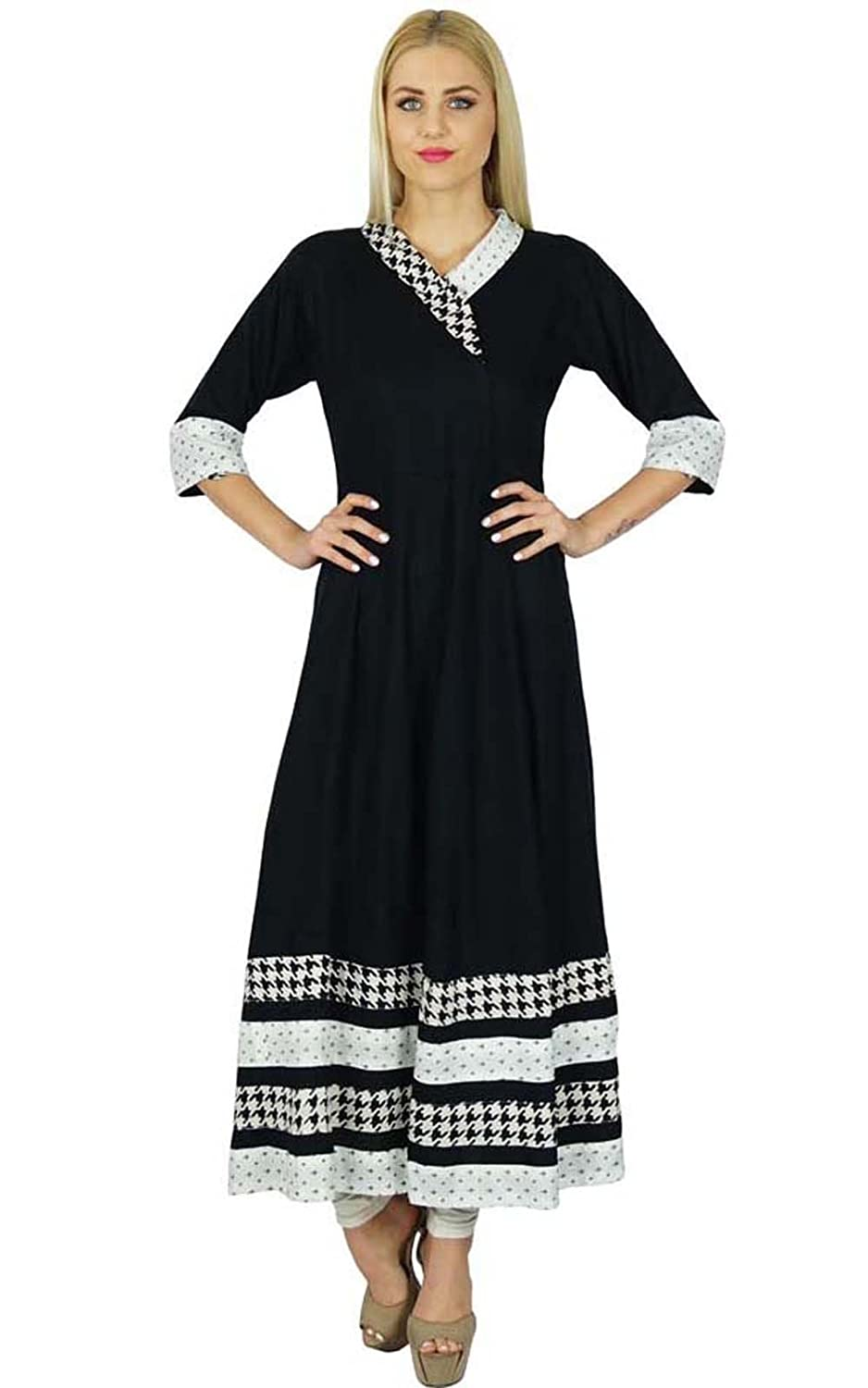 b7ee2de801c43 100% Rayon An Indo-Western flared anarkali kurti with collar. Rayon made  kurti that is black in color and is full in length and has 3/4th sleeves.