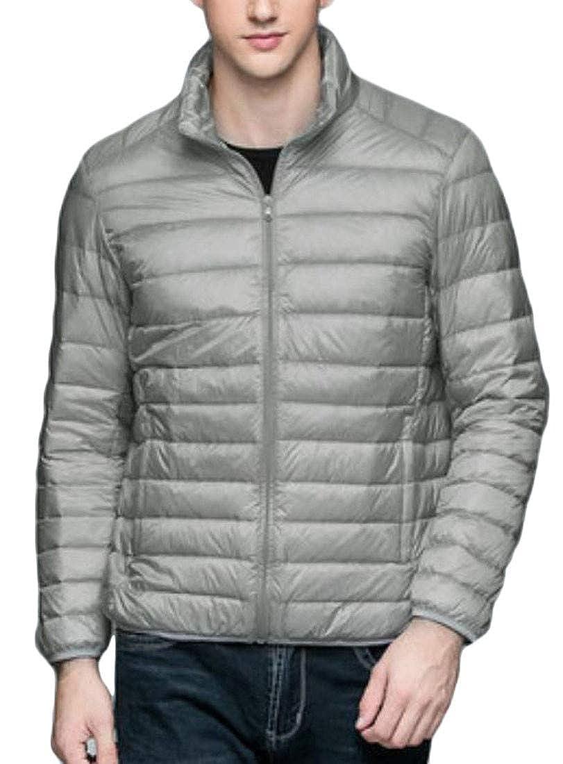 Joe Wenko Men Plus Size Lightweight Packable Puffer Stand Collar Down Jacket Coat