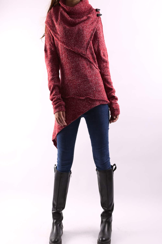 Women's Asymmetrical Knit Sweater Red