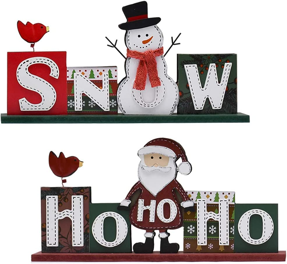 Attraction Design Christmas Wood Sign Decor Set of 2, Snow Sign and HOHOHO Christmas Decoration with Santa and Snowman Figurine Wooden Words Decor Rustic Decorative Sign Freestanding Tabletop Decor