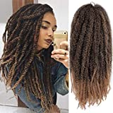 AISI BEAUTY 3 Packs Crochet Hair Marley Braiding Hair Extensions 18' Synthetic Afro Kinky Twist Crochet Braiding Hair Mixed Color Marley Hair for Twists (18'' T1B-27)
