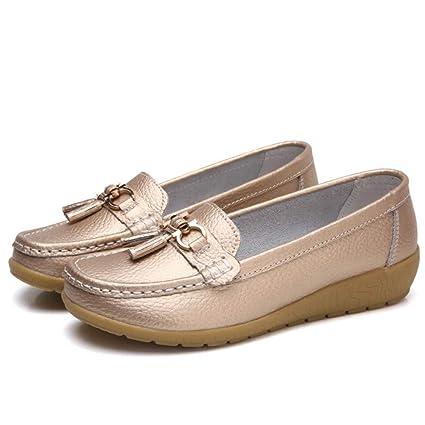 Mujer Zapatos Planos Cuero Soft Único Ligero Hebilla Metálica Mocasines Talón Bajo Golden Ronda Toe Slip