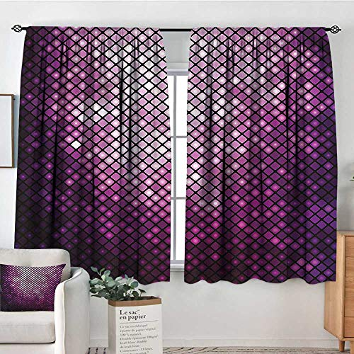 PriceTextile Purple,Boy's Iving Room Curtain Funky Disco Inspired Mosaic 104