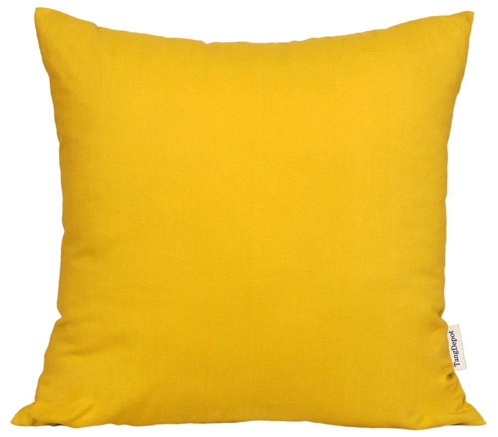 TangDepot174; Super Silky Soft, HIGHEST QUALITY 100% Cotton Solid Decorative Throw Pillow Covers, Pillowcases, euro shams, many colors & sizes avaiable - (20''x20'', Egg Yolk Yellow)