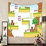 Gzhihine Custom tapestry Video Games Tapestry Colorful Retro Gaming Computer Brick Blocks Image Puzzle Digital 90s Play Bedroom Living Room Dorm Decor 60 W X 40 L Multicolor