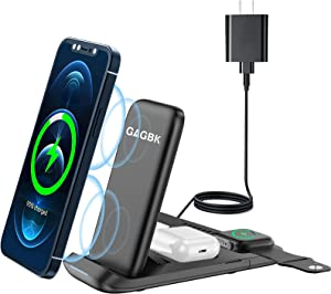 GAGBK 3 in 1 Wireless Charging Station, 15W Fast Wireless Charger for Apple Watch SE/6/5/4/3/2, Wireless Charging Stand Dock for iPhone 12/12 Pro Max/SE/11 Series/X/XS/XR/8 Plus/Samsung, AirPods 2/pro