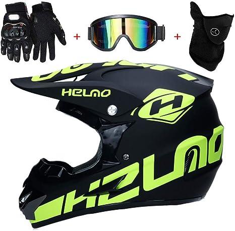 Amitd Motocross Helm Adult Off Road Helm Mit Handschuhe Maske Brille Unisex Motorradhelm Cross Helme Schutzhelm Atv Helm Für Männer Damen Sicherheit Schutz M Küche Haushalt