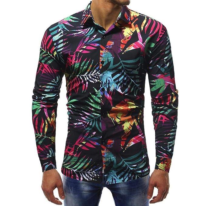 Blusas Hombre Manga Larga,Stand-Cuello Flores Estampados De La Moda Camisa De La