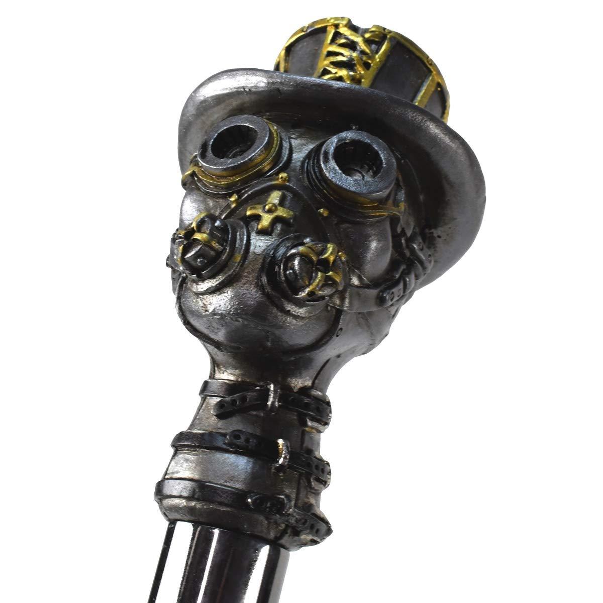 Punk Skull Wearing Gas Mask Buckle Collar Walking Stick Metal Shaft Steampunk Cane Black by TG,LLC