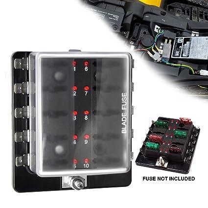 amazon com liteway 10 way blade fuse holder box 12 32v led rh amazon com