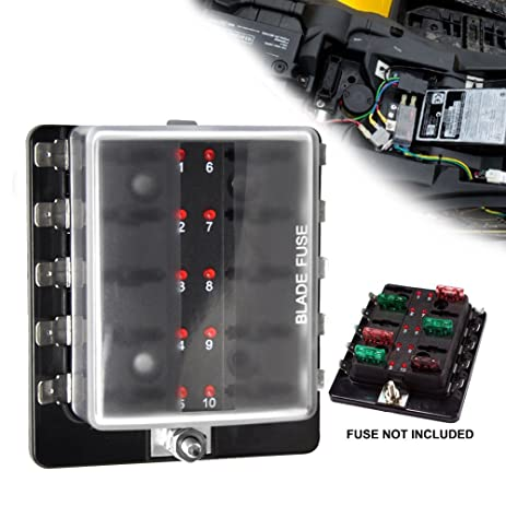 61YSdzi6r L._SY463_ amazon com liteway 10 way blade fuse holder box 12 32v led Marine Fuse Terminal Block at panicattacktreatment.co