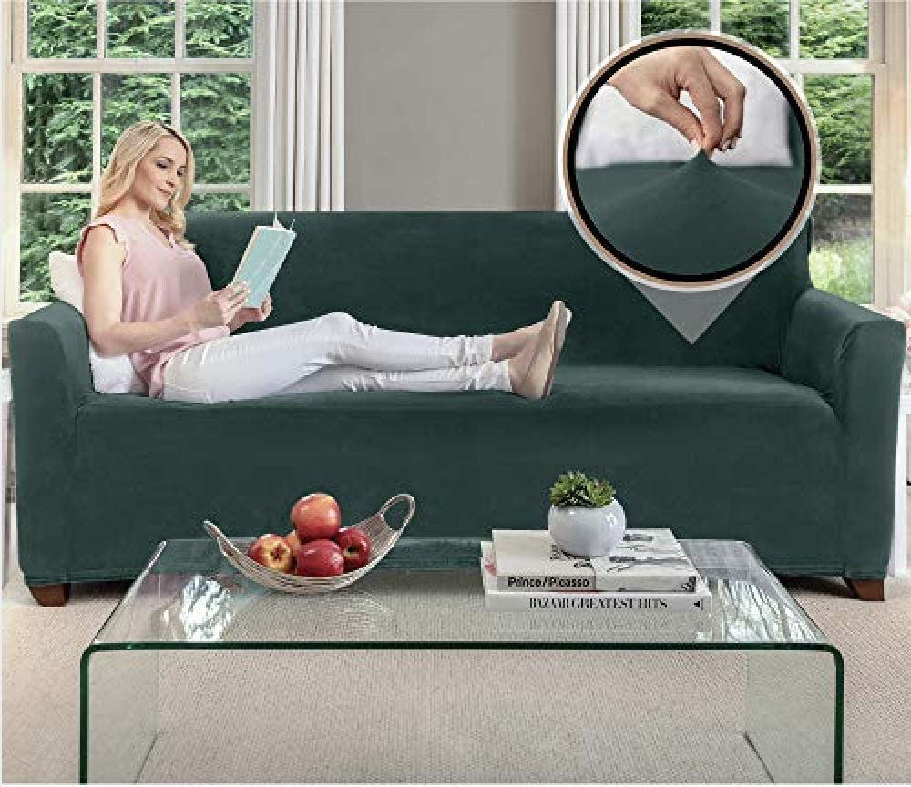 Gorilla Grip Original Fitted Velvet 1 Piece Large Sofa Protector for Seat Width to 70 Inch, Stretchy Furniture Slipcover, Fastener Straps, Spandex Couch Slip Cover Throw for Pets, Sofa, Hunter Green