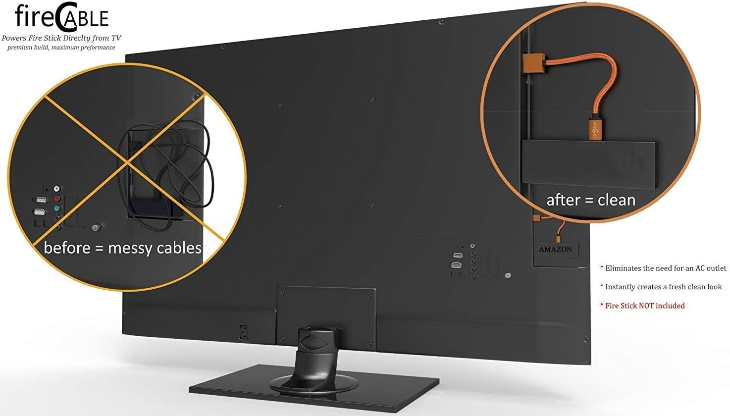 fire-Cable Plus Wireless Adapter, Powers Streaming TV Sticks Directly from TV USB Port (Eliminates AC Outlet and Cords)