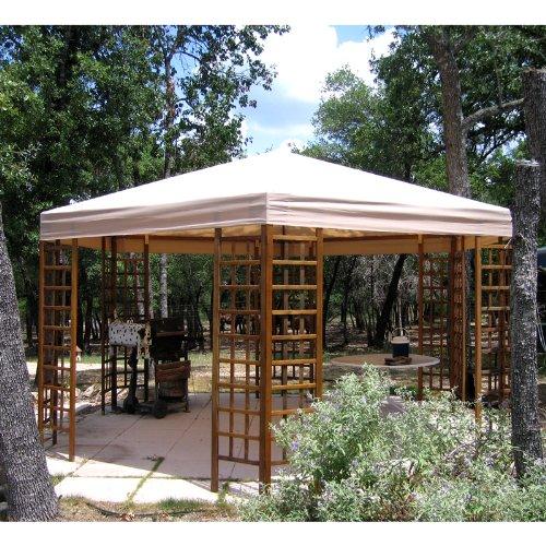 Garden Winds Wood Heaxgon Gazebo Replacement Canopy - Rip...