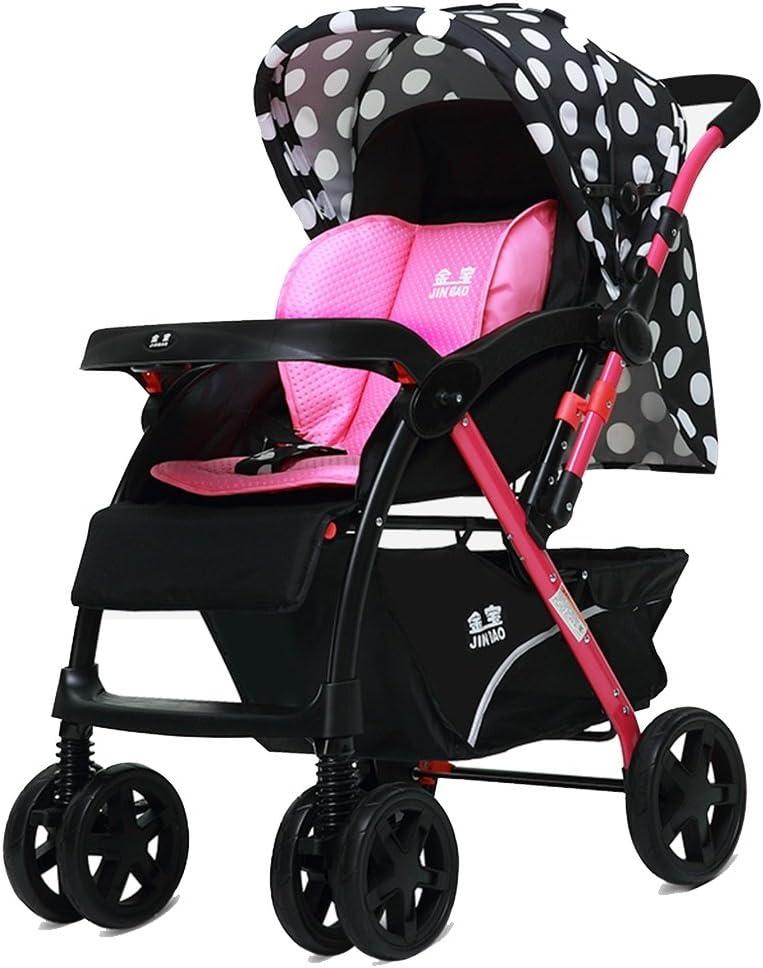 Baby Carriage Peaceipus Baby Trolley hoch Landscape können Lüge nach unten Ultra-Light Portable Fold 1-3 Years alt Child Baby Two-Weg Stainless Steel Umbrella Auto Trolley Oxford Cloth (Color : Pink)