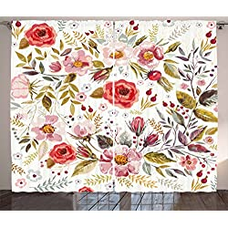 Ambesonne Vintage Curtains by, Floral Theme Hand Drawn Romantic Flowers and Leaves Illustration, Living Room Bedroom Window Drapes 2 Panel Set, 108W X 84L Inches, Light Pink Red and Cream