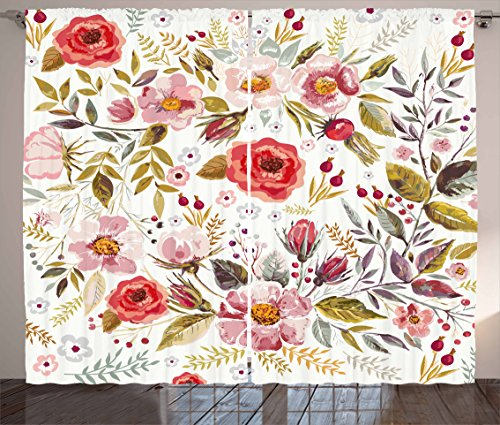 Ambesonne Vintage Curtains by, Floral Theme Hand Drawn Romantic Flowers and Leaves Illustration, Living Room Bedroom Window Drapes 2 Panel Set, 108W X 84L Inches, Light Pink Red and Cream - Floral Curtain