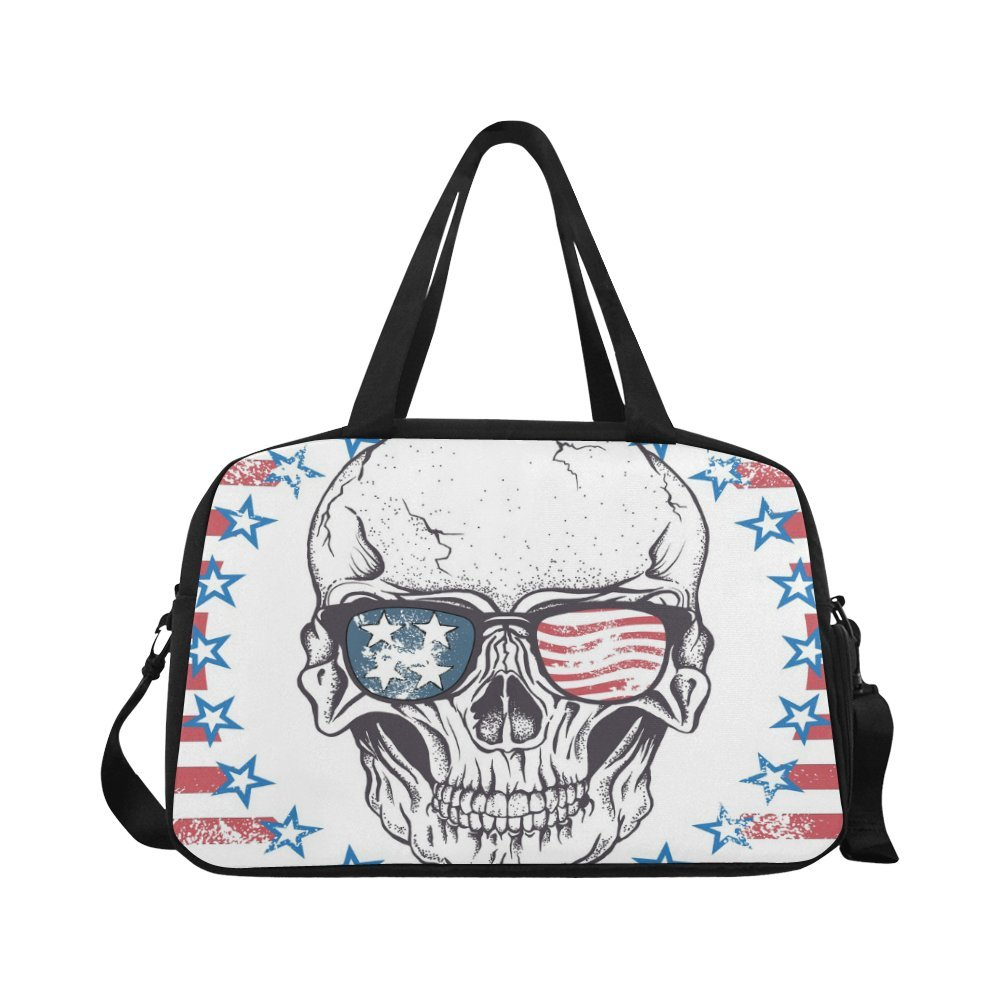 InterestPrint Travel Duffel Tote Bag Face of Skull with Sunglasses on the Abstract USA Flag
