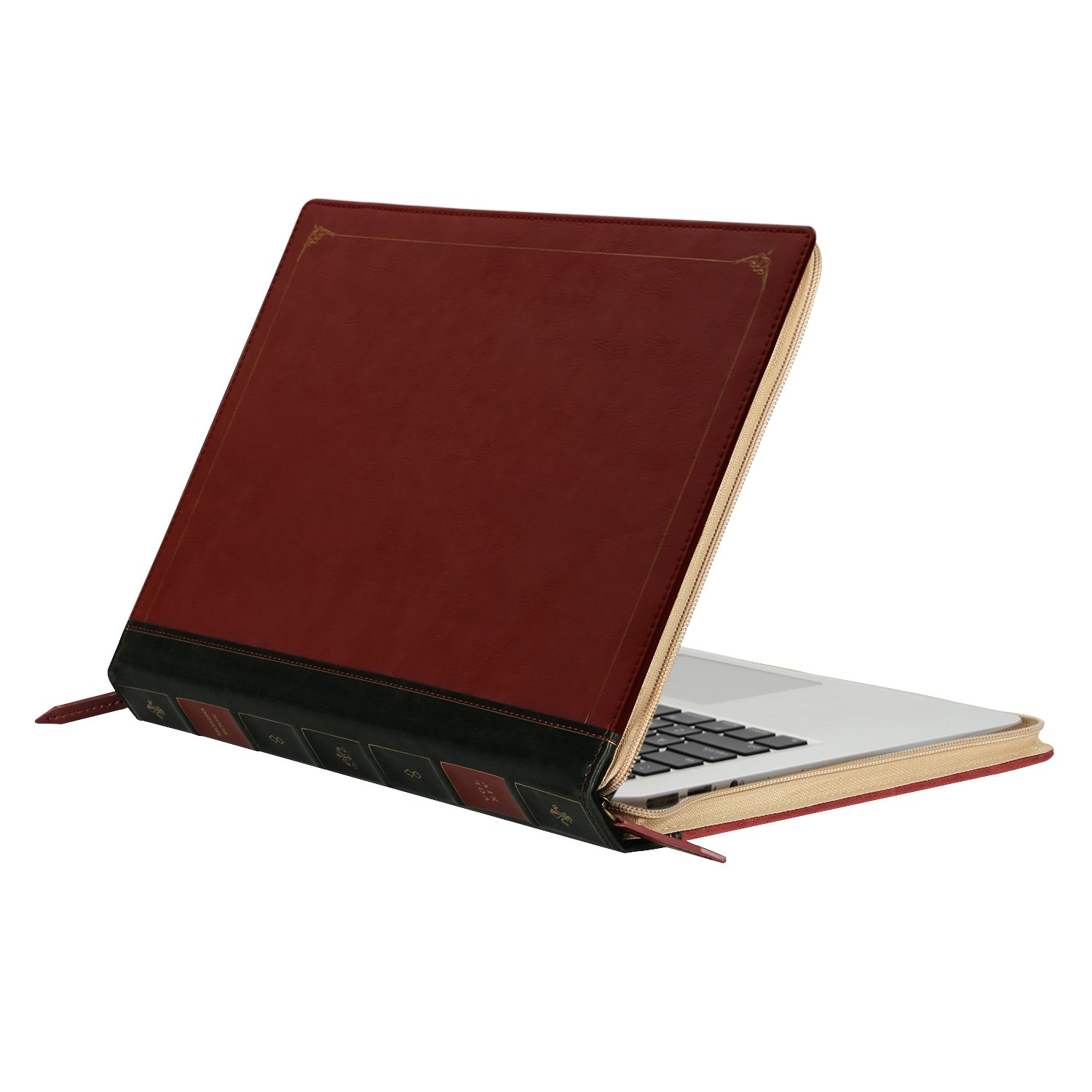 MOSISO PU Leather Sleeve Only Compatible with MacBook Air 13 Inch A1466 / A1369 (Older Version Release 2010-2017), Vintage Classic Zippered Case Premium Book Cover, Wine Red