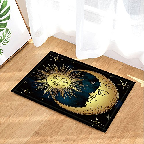 NYMB Boho Antique Decor, Golden Sun Crescent Moon and Stars Over Blue Black Sky, 69X70in Mildew Resistant Polyester Fabric Shower Curtain Set 15.7x23.6in Flannel Non-Slip Floor Doormat Bath Rugs