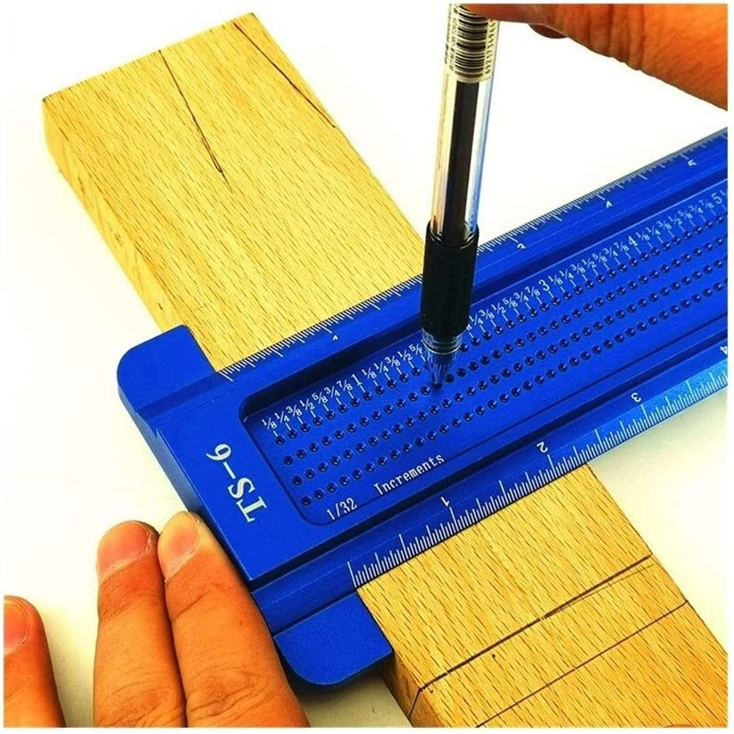 JYSLI Using 6/8inch Aluminum Scale Ruler T-type Hole Ruler Woodworking Scribing Mark Line Gauge Carpenter Measuring Tool cutting (Color : TS 8 Blue) Ts 8 Red