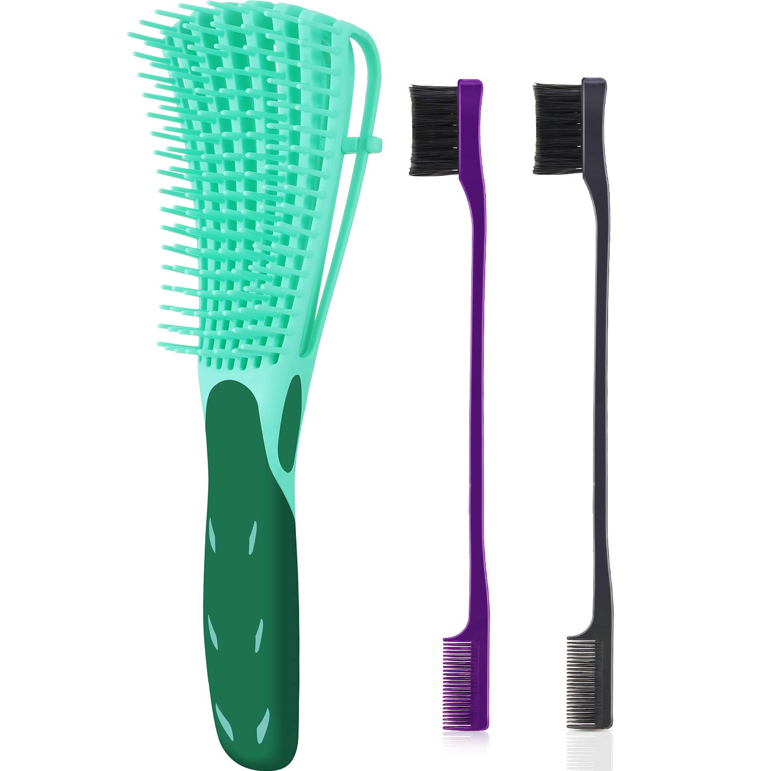 3 Pieces Detangling Brush Set with Edge Brush Double Sided, Hair Detangler for Afro America Textured 3a to 4c Kinky Wavy for Wet/Dry/Long Thick Curly Hair (Green, Purple, Black)