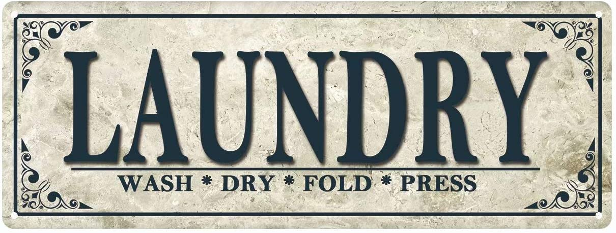 Laundry Wash Dry Fold Press Enamel Wall Sign Vintage Classic Laundry Room Home Decor 16x6 Inches Tin Sign