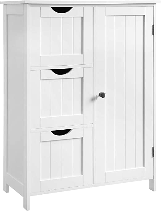 Amazon Com Vasagle Bathroom Storage Cabinet Floor Cabinet With 3 Large Drawers And 1 Adjustable Shelf 23 6 X 11 8 X 31 9 Inches White Ubbc49wt Kitchen Dining