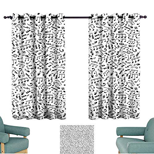 Black and White Noise Reduction Curtain Musical Composition with Notes Quavers Chords Treble Clefs Sheet Elements 70%-80% Light Shading, 2 Panels,72