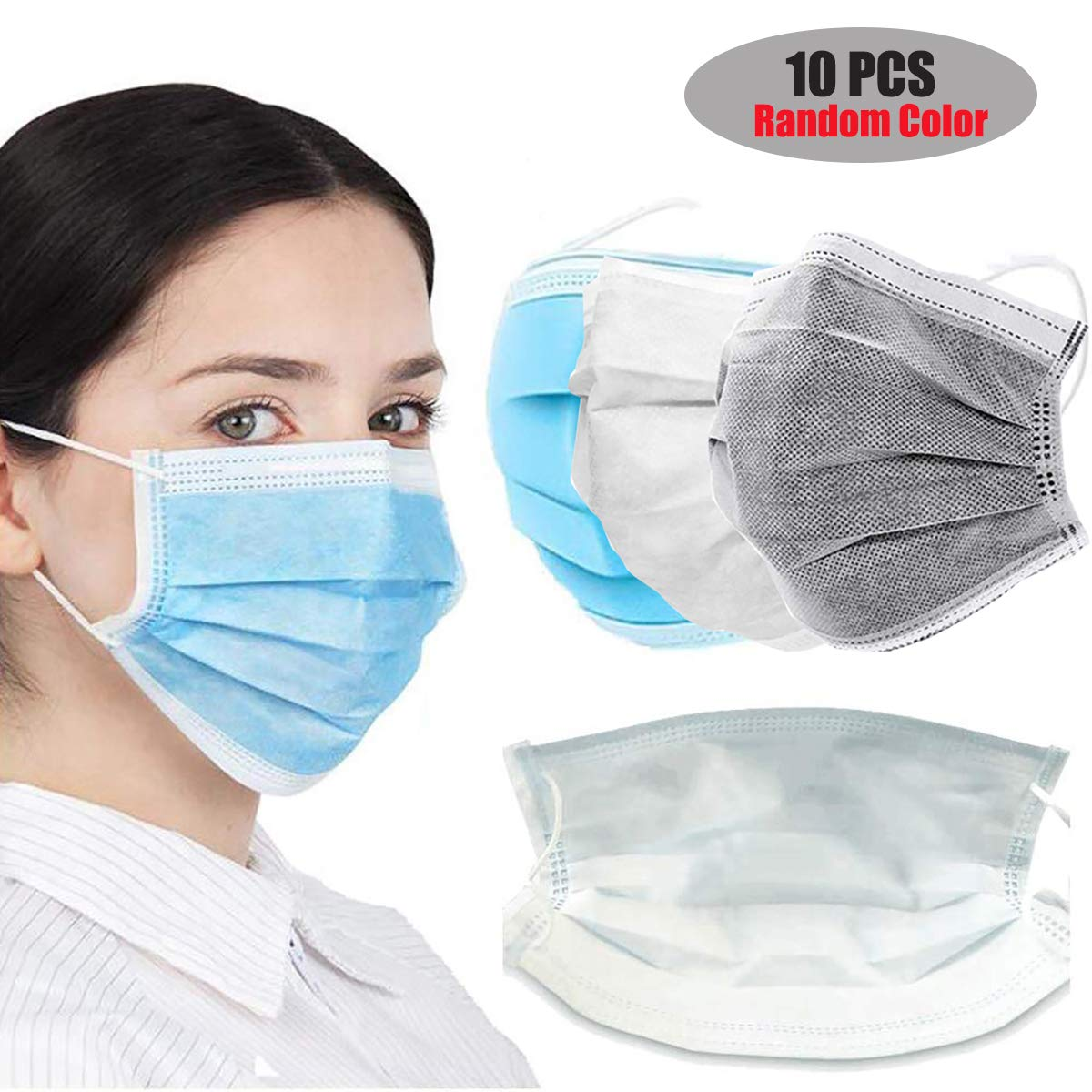 Yansion Mascarilla de carbón Activo de 3 Capas, máscara desechable para Orejas, máscara Antipolvo (10)