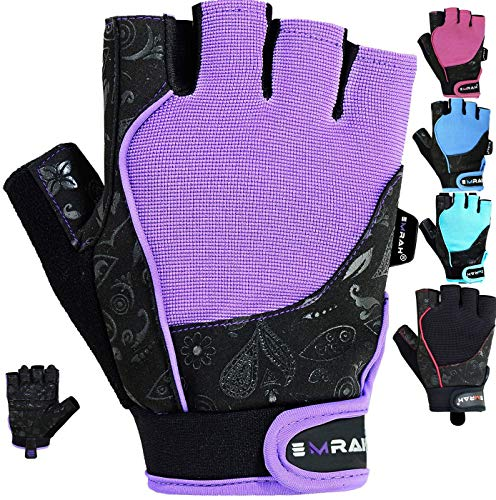 EMRAH Gym Ladies Weight Lifting Gloves Women Workout Fitness Bodybuilding Crossfit Breathable Powerlifting Wrist Support Strength Training Exercise (Purple, Medium)