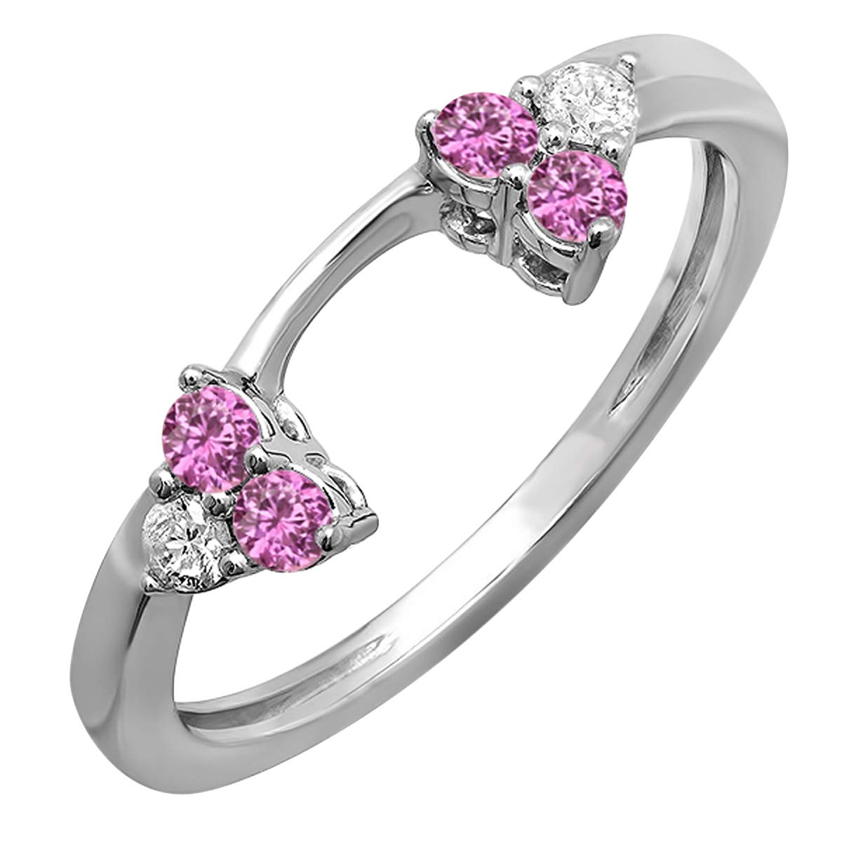 Dazzlingrock Collection 14K White Diamond And Pink Sapphire Ladies Wedding Ring Guard Band, White Gold, Size 7 by Dazzlingrock Collection