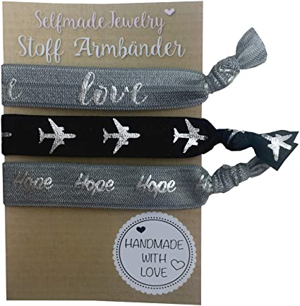 Pack Of 3 Elastic Hair Ties// Bracelets Wrist Bands,Silver White and Black