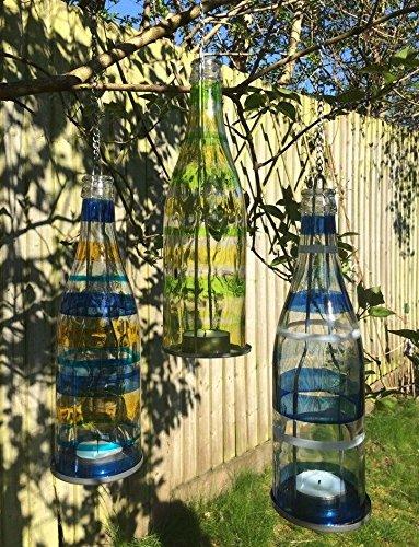 Juego de 3 té luz de la vela titular de vidrio Botellas colgantes ...