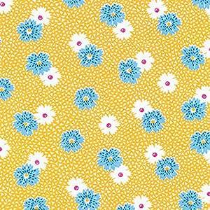 Robert Kaufman para jardín amarillo flores y confeti