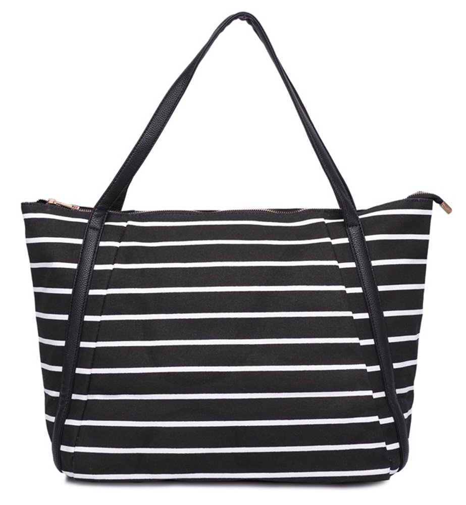 Mn&Sue Summer Vacation Casual Women Large Canvas Stripe Tote Bag Oversized Shoulder Hobo Shopping Handbags