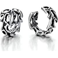 2pcs Mens and Womens Stainless Steel Gothic Vintage Ear Cuff Ear Clip Non-Piercing Clip On Earrings