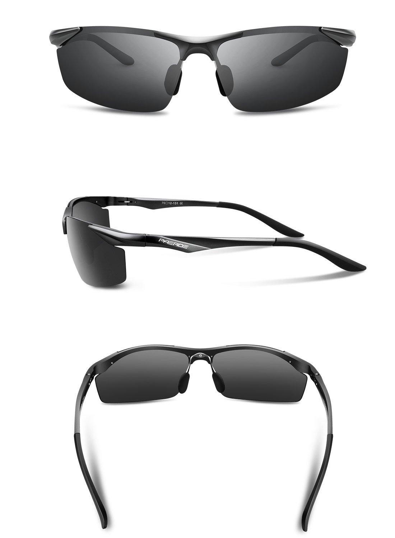 Paerde Men's Polarized Sports Sunglasses for Men Women Running Fishing Driving Golf Glasses Metal Frame PA01 (Black)