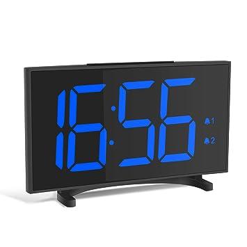 YISSVIC Despertador Digital Reloj Despertador Ultra Delgado con 6,5 Gran Pantalla LED Equipado con 2 Alarmas Función de Snooze y Brillo Ajustable de 6 ...