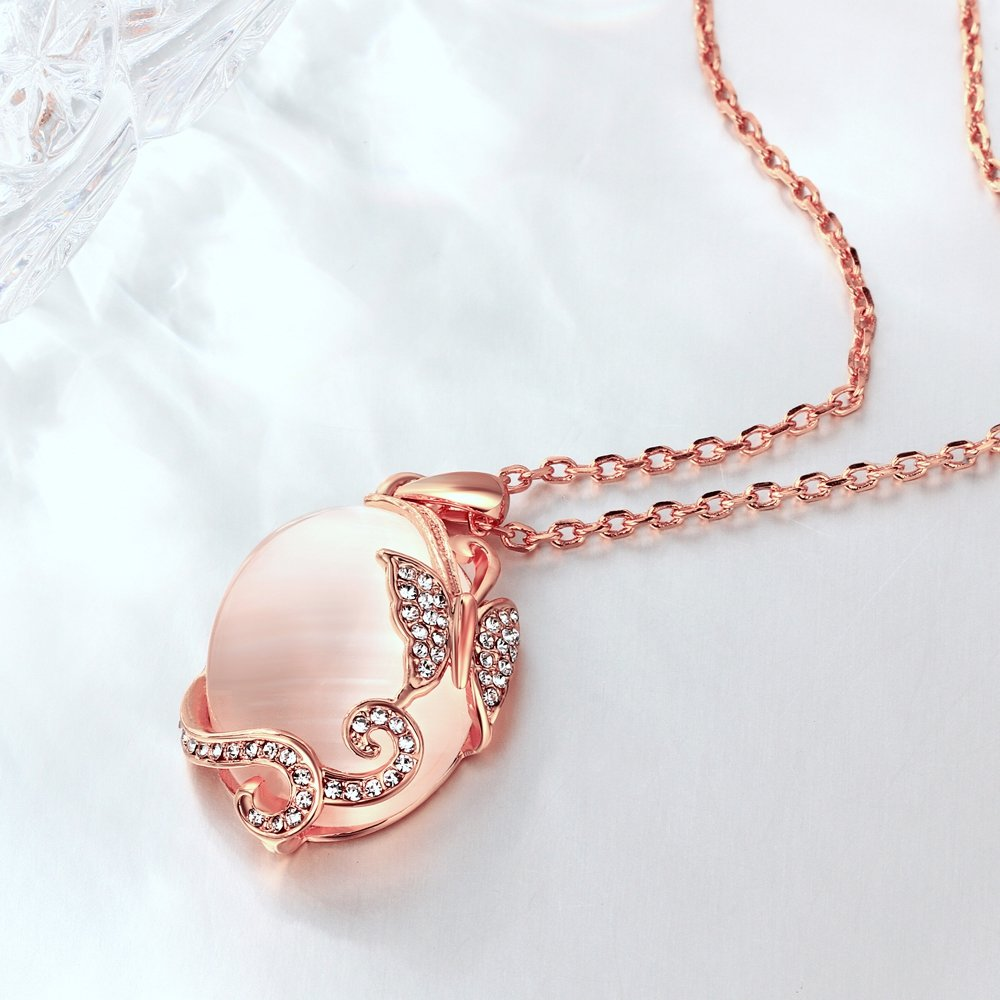 LQinuan Elegant Pendants Gold Plated Necklaces Opal Jewelry Chain for Women Girls Gifts