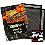 PhatMat Non Stick Grill Mesh Mats (2 pk) - Heavy Duty BBQ Grilling & Baking Accessories for Traeger, Green Egg, Smoker & Oven - Includes Free Meat Smoking Temperature Guide