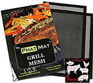 PhatMat Non Stick Grill Mesh Mats (2 pk) - Heavy Duty BBQ Grilling & Baking Accessories for Traeger, Green Egg, Smoker & Oven - Include FREE Meat Smoking Temperature Guide