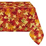 LEEVAN Fabric Waterproof Tablecloth Stylish Polyster Spill-proof Maple Leaf Pattern Print Home Decoration Table Cover, 54 by 54-Inch