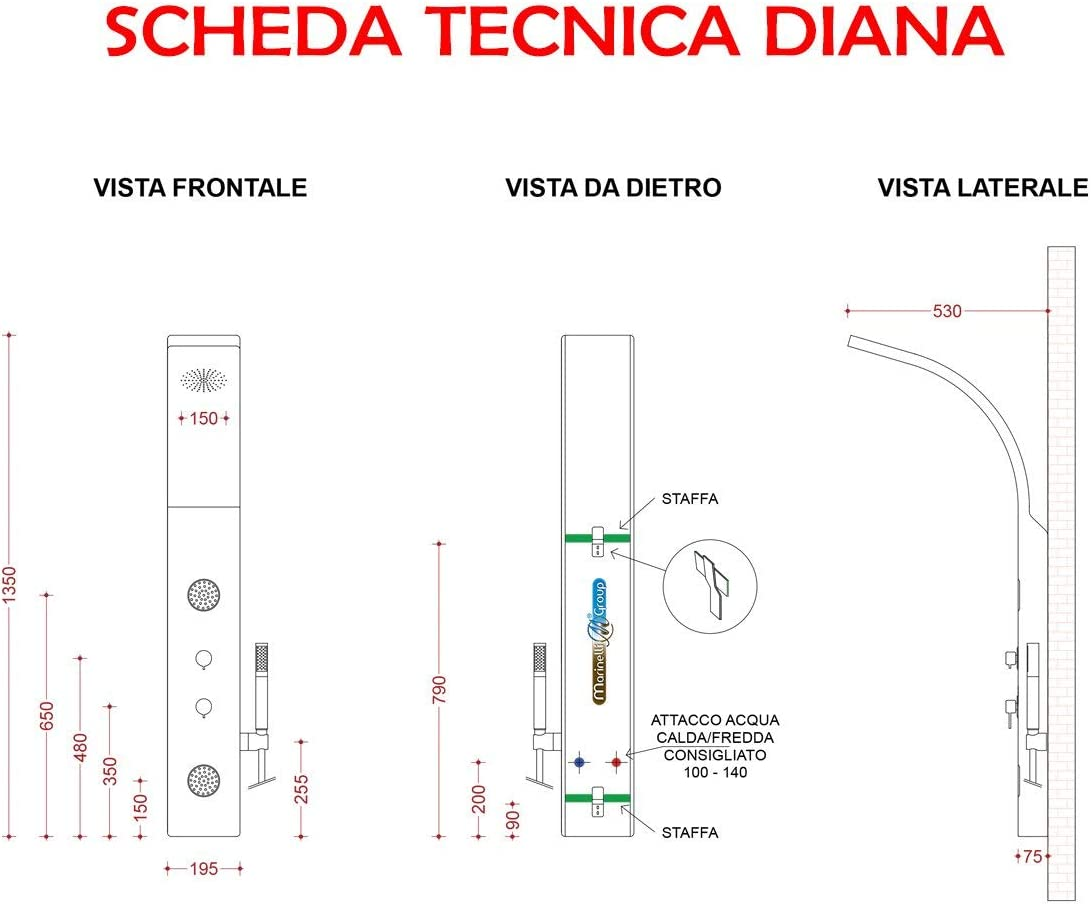 Panel ducha hidromasaje alcachofa columna pvc blanco multichorros ...