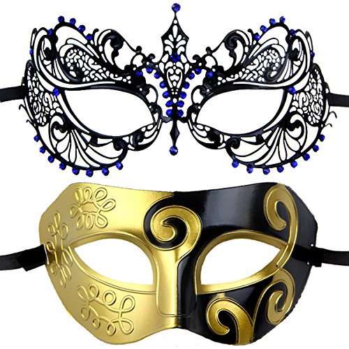 Couples Pair Mardi Gras Venetian Masquerade Masks Set Party Costume Decorations (dark (Mardi Gras Couples Costumes)