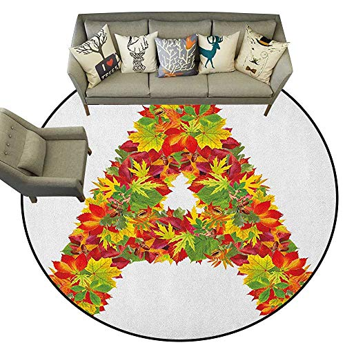 Rug Transitional Leaves - Letter A,Throw Round Rugs Autumn Themed Leaves Vivid Color Palette Fall Season Alphabet A Sign D36 Study Room Kids Floor Mat Carpet