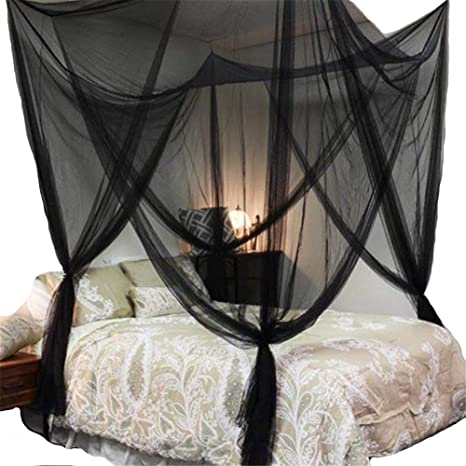 Lighting-Time 4 Corners Post Bed Canopy Twin Full Queen King Mosquito Net for Full Queen King Bedding Black