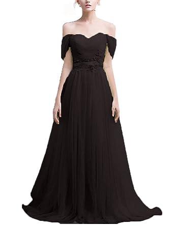 a690a0b8e58 Vimans Womens Long Black Off Shoulder Hot Summer Beach Evening Dresses  Lace