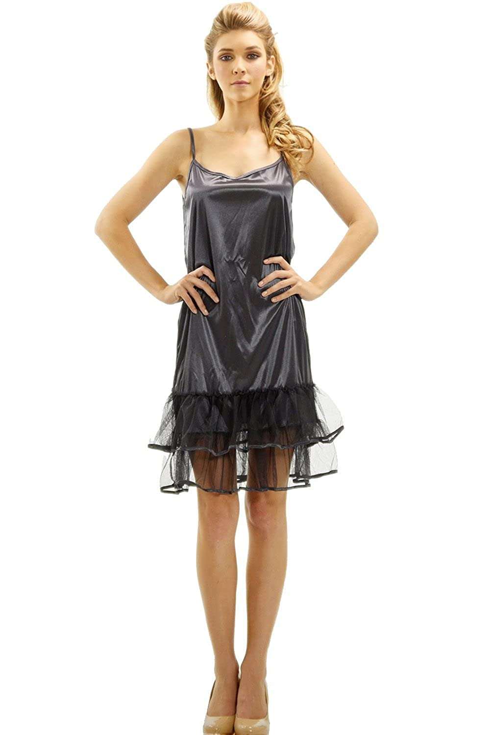 [Shop Lev] Melody Satin Full Slip with Mesh Bottom, Charcoal