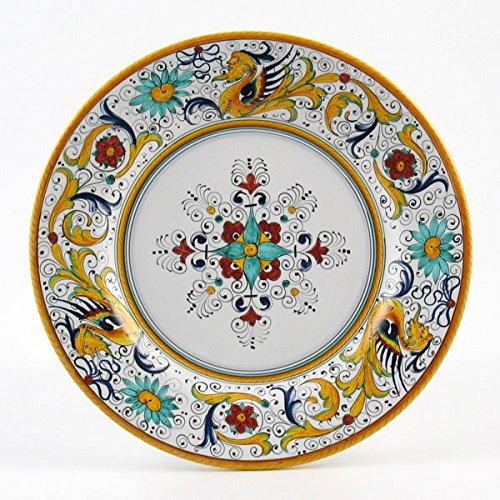 Hand Painted Italian Ceramic Dinner Plate Flat Rim Raffaellesco - Handmade in Deruta
